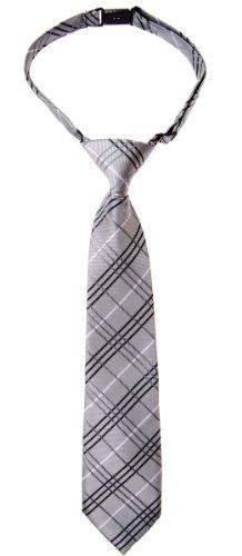 Retreez - Corbata para chico estilo tartán de cuadros de tejido de microfibra preatada - Varios colores gris gris 4 - 7 Años