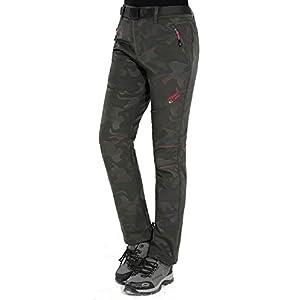 SWAMPLAND Damen Softshellhose mit Warm Fleece Gefüttert Trekkinghose Wasserdicht Outdoorhose Winddicht Skihose
