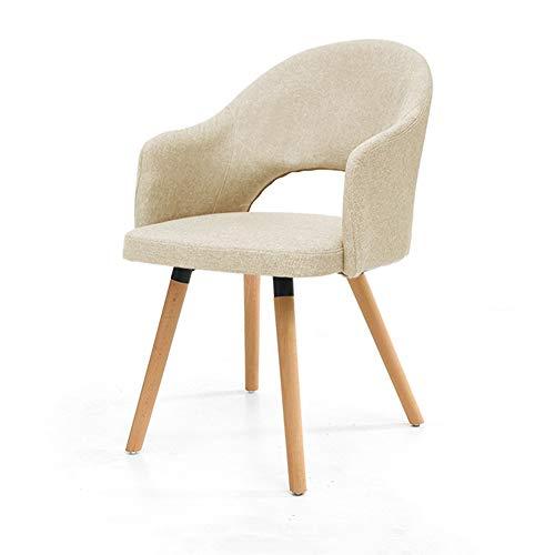 BBSYHUMM Schreibtisch Stuhl, Eisenrahmen Holzbeine/Home Computer Lounge Stuhl, Einfache Moderne Massivholz Stuhl, Einfach Zu Montieren, Solide Und Stabil (Color : Beige)