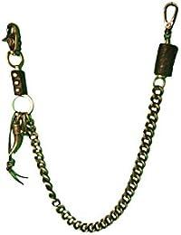 Hosenkette,Bikerkette,Schlüsselkette,Metallhorn mit Lederbesatz Schwarz - BK22