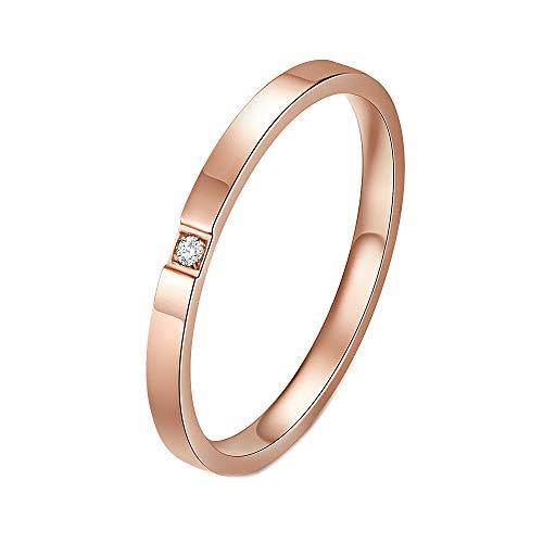 PAURO Damen Ring Edelstahl 2MM Dünn Zirkonia Elegant Schwanz Rose Gold Versprechen Band Minimalistisch Größe 52 (16.6)