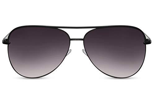 Cheapass Sonnenbrille Schwarz Flieger-Brille Piloten-Brille UV-400 Gradient Über-Groß Metall Damen Frauen