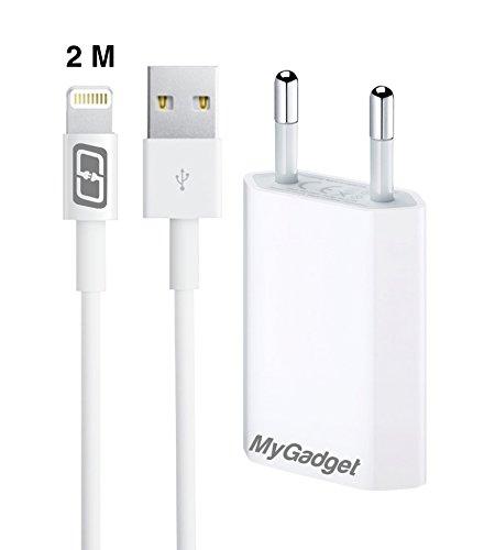 MyGadget Ladegerät © 1x iPhone-Kabel (2M) und 1x Netzteil Adapter (1A) Ladekabel Datenkabel für Apple 7,7 Plus,6s,6s Plus,6,5,5s,5c,SE, iPod nano 7, 5G in Weiß