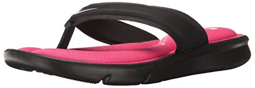 NIKE Women's Ultra Comfort Thong Athletic Sandal, Black/White/Vivid Pink, 7 B US Nike Womens Thongs