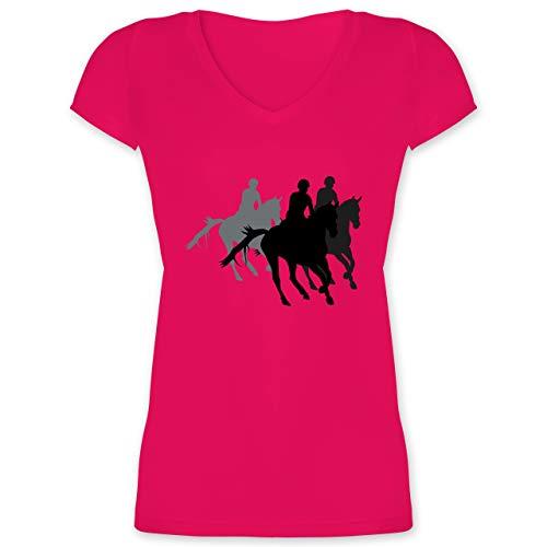 Reitsport - Freizeitreiten Ausreiten Reiten - M - Fuchsia - XO1525 - Damen T-Shirt mit V-Ausschnitt