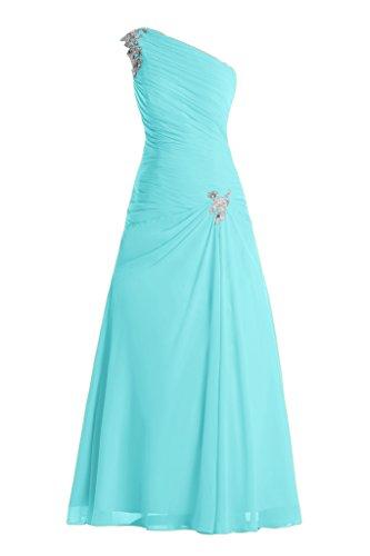 Toscane mariée stylé un des épaules :  chiffon abendkleider party ballkleider de longueur fixe Bleu - Bleu roi