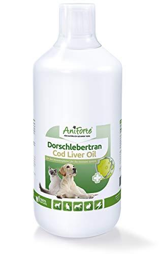 AniForte Dorsch-Lebertran 1 Liter für Pferde, Hunde, Katzen und Haustiere, Natürliche Quelle für Vitamin D und Omega-3-Fettsäuren