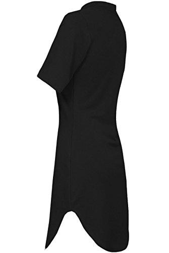 Frauen Curved 3/4 kurzen Ärmeln Hoch Polo Hals Tunika Mini Kleid Top Schwarz