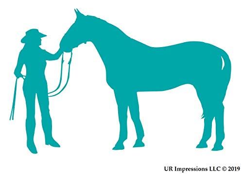 Stiefel Klebeband Kostüm - UR Impressions Cowgirl and Horse Aufkleber für Auto, LKW, SUV, Vans, Wände, Fenster, Laptop blaugrün