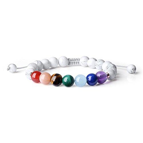 COAI® Geschenkideen Glücksarmband aus 7 Chakra und Howlith mit Verstellbarem Nylonband Yoga-Armband für Damen und Herren
