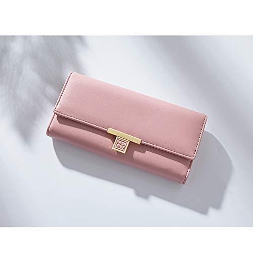 Wallet RFID-blockierendes Leder dreifach faltbare Clutch Geldbörse mit Reißverschlusstasche, schmale Karte - Pink - Medium -