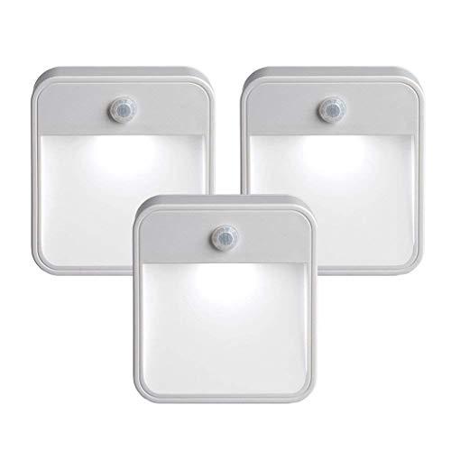 【Neue Version】Sayla 3pcs Nachtlicht mit Bewegungsmelder,LED Wireless Nachtlicht Cabinet Step Treppenlampe,Schrankleuchten für Flur, Schlafzimmer, Küche (3PCS)