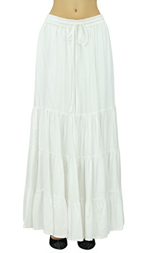 Bimba Frauen Boho Long Flaired Maxi Tierrock Elastische Taille Bohemian Röcke Weiß
