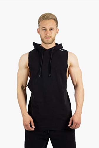 GYMJUNKY Carbon Hooded Sleeveless Shirt - Atmungsaktiv - Sleeveless Funktionsshirt für Sport, Fitness, Training & Lifestyle (Black, L)
