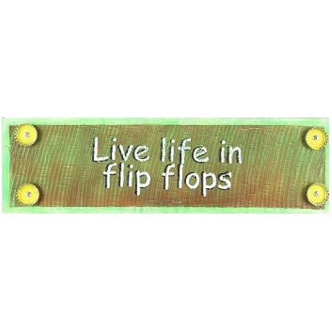 Giovani del Inc giovani Live Life in legno infradito e Mixed Media Wall Art, 46cm, multi