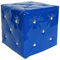 HOWE-Deko Hocker Sissi, blau glänzend, Bezug aus PU, gesteppt mit Strassstein-Verzierungen, B40 x H40 x T40 cm preisvergleich bei kinderzimmerdekopreise.eu