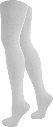 normani Damen Overknees Über-Knie Strümpfe geringelt in verschiedenen Farben Farbe Weiß