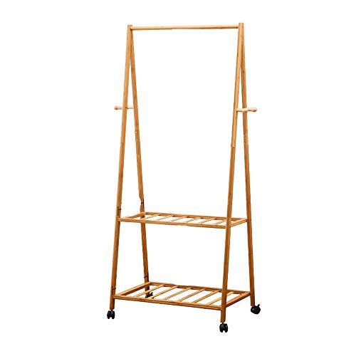 YM Hölzerne Garderobe, rollende Garderobe 3 in 1 Bamboo Garment Rack Mantel Kleidung Kleiderstange 2 Ebenen 4 Haken für Schuh- und Hutablage Mode (Size : 163x70CM)