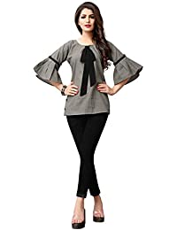 Fidubi Women's Cotton Regular Fit Top (TEX_Top_13_Grey)