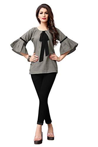 Fidubi TexStile Women's Cotton Regular Fit Top (TEX_Top_13, Grey, Small)