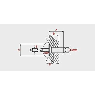 4.0mm (x 8mm) Countersunk Open Aluminium Steel Blind Pop Rivets 50