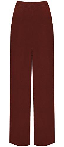 WearAll Damen Übergröße palazzo weitem bein schlaghosen gummizug - Wein - 44 bis 46 (Frauen Plus Kleidung Size Für)