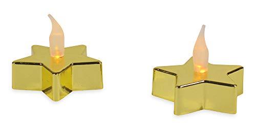 Riffelmacher Sternen-Teelichter mit LED Silikonflamme 2 Stück 76368 - Gold - Zauberhafte Weihnachtsdekoration Tischdeko