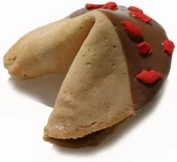 10 Luxury Belgian Chocolate Dipped Hen Party Fortune Cookies with Lucious Red Lips