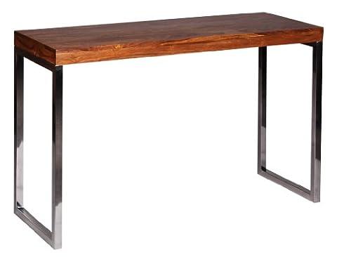 WOHNLING Konsolentisch Massivholz Sheesham Konsole mit Metallbeinen Schreibtisch 120 x 45 cm Landhaus-Stil Sideboard Modern Massiv dunkel-braun Echt-holz Natur Anrichte PC-Tisch Sekretör Tisch