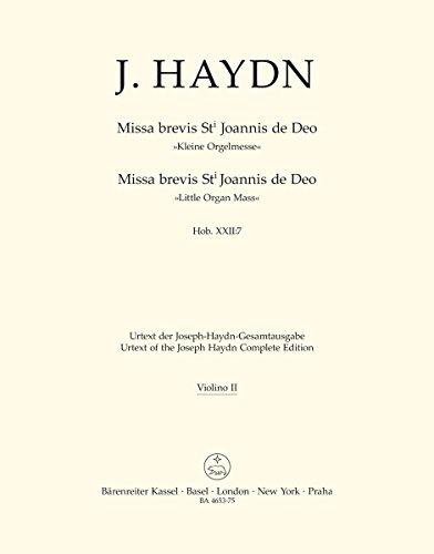 Partitions classique BARENREITER HAYDN J. - MISSA BREVIS ST JOANNIS DE DEO, LITTLE ORGAN MASS HOB.XXII:7 - VIOLON 2 Parties séparées