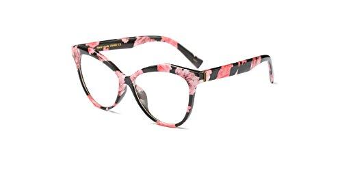 Zokra (TM Vintage Katzen-Augen-Rivet Eyewear Feld-Frauen-Elegante optische Rahmen Brillen Brillengestell Oculos De Grau [Blumen]