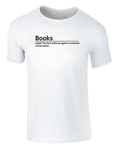 Brand88 - Books Definition, Erwachsene Gedrucktes T-Shirt Weiß/Schwarz