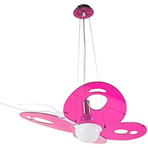 Interfan 51179 - Lámpara colgante, diseño de mariposa, color rosa