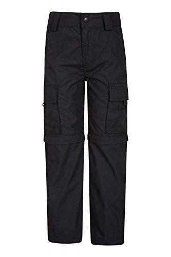 Mountain Warehouse Active Zip-Off-Hose für Kinder - Leichte Kinderhose, Schnelltrocknende Hose, Taschen, Pflegeleichte Freizeithose - Für Camping, Reisen Schwarz 104 (3-4 Jahre)