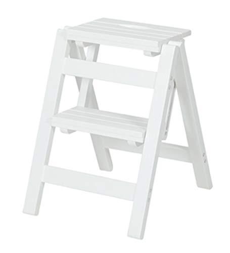 SWJ-Ladder Scale Pieghevoli Legno Massiccio Multifunzione2/3 Passi Sgabello Casa Sedia A Sdraio Cucina Piantana per Fiori,4 Colori,White-38 * 44 * 51cm