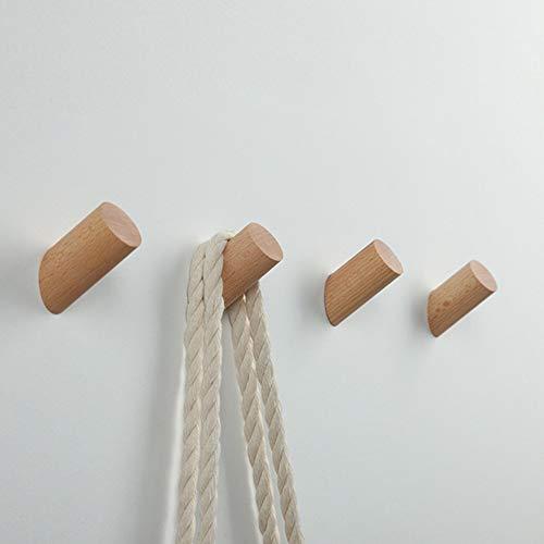 Holz Kleiderhaken【5 Stück】,EAHOME Natürliche Wand montiert Kleidung Schal Hut Tasche Lagerung Kleiderbügel Handtuchhalter Schlafzimmer Dekoration Pflöcke, Durchmesser 30mm -