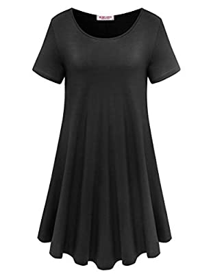 BELAROI Tshirt Dresses Women Swing Dress Lady Oversize T Shirt Tops Casual Tunic Dress A line Loose Fit