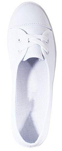 Elara Damen Ballerinas | Bequem Sportliche Slipper Slip-Ons | Freizeitschuhe Flats | chunkyrayan Weiß