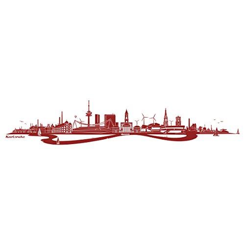 WANDKINGS Wandtattoo - Skyline Karlsruhe (mit Fluss) - 170 x 32 cm - Dunkelrot - Wähle aus 6 Größen & 35 Farben
