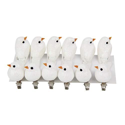 Amosfun 12 Stücke Künstliche Schaum Vögel Miniatur Vogel Figuren Schaum Vögel Haarspange für Craft Fee Garten Ornamente Haarschmuck (Weiß) -