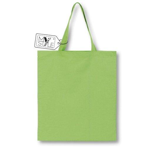 My Custom Style® Shopper aus Baumwolle natur-hellgrün mit Griffen von 50cm. Produkt-Qualität My Custom Style, ideal für Malerei oder für digitale Drucke, Format Tasche 38x 42cm. 10 shopper cotone