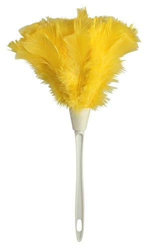 Ettore 48618 Staubwedel mit Truthahnfedern, 14 Zoll, Feather, gelb, weiß, 6.35 x 11.43 x 35.56 cm