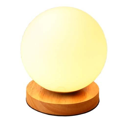 MYJH Bola de cristal de madera Luz de luna Lámpara de mesa pequeña ...