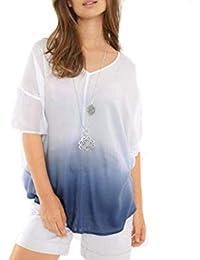 Damen Tunika Blumenmuster blau oder rot leichtes Sommer Shirt Bluse Öko-Tex