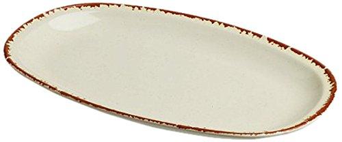 Tognana 26 x 16 cm-Siena-Assiette Ovale en Porcelaine Motif Marron Havana