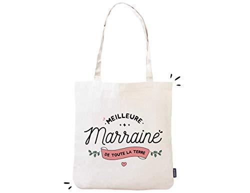 e2b7118f2937 Tote bag Marraine - Meilleure marraine de toute la terre | 100% coton |  Imprimé en France | Cadeau pour marraine, cadeau marraine, sac marraine