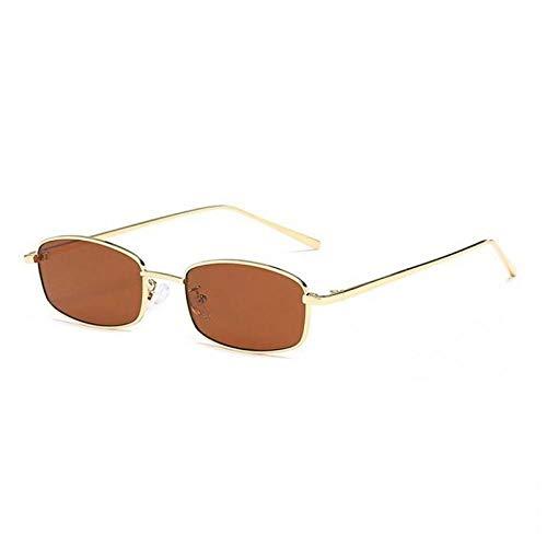Alter Mann Blackout Sonnenbrille Metall kleine quadratische Sonnenbrille Männer koreanische Version der braunen Sonnenbrille weibliches Gesicht Retro Persönlichkeit alter Mann Blackout Brille Goldrah