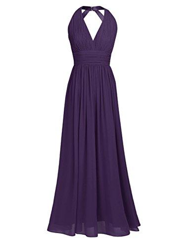 iEFiEL Damen Elegant Sommer Kleid festliches Abendkleid V-Ausschnitt Brautjungfer Cocktailkleid Chiffon Faltenrock Langes Abendkleid Dunkel Lila 38 (Herstellergröße: - Kleid Lila Chiffon-langes