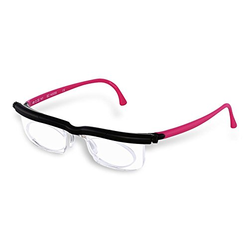 HC Handel 936186 Adlens-Brille mit individuell einstellbaren Gläsern von -6 bis +3 Dioptrien - pink