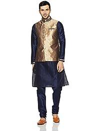 Manyavar Men's Kurta Paired with Churidar & Waistcoat (JAST060)